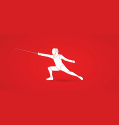 Fencing fighter sport action graphic vector