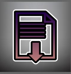 file download sign violet gradient icon vector image