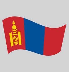 Flag of mongolia waving on gray background vector