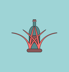 Flat icon design collection bottle in grass vector
