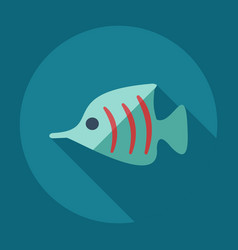 Flat modern design with shadow icons small fish vector