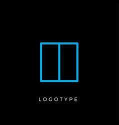 geometric shape letter h line monogram vector image