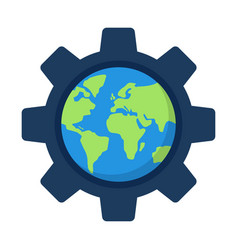 globe of the inside a gear or cog global options vector image