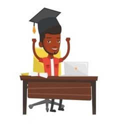 Graduate using laptop for education vector