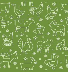 green seamless pattern farm animals vector image