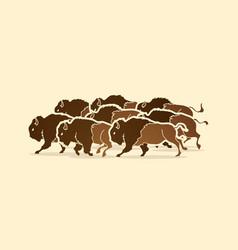 Group buffalo running graphic vector