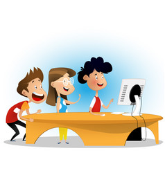 group of elementary school students vector image