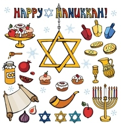 Hanukkah symbolsDoodle colored Jewish Holiday set vector