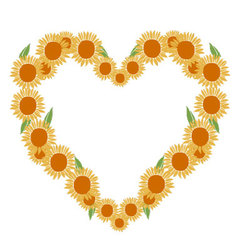 heart of sunflowers vector image