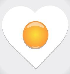 Heart shape from fried egg vector image