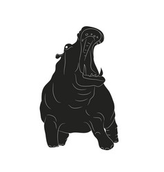 hippo stands drawing silhouette vector image