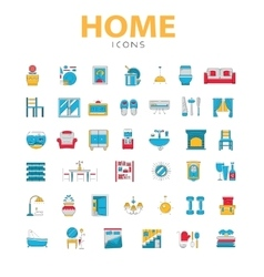 Home icons house related objects icons in vector