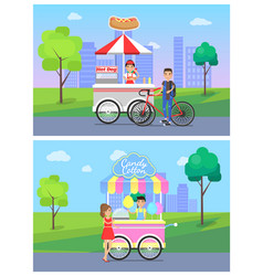hot dog and candy cotton stand vector image