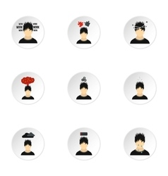 Human feelings icons set flat style vector
