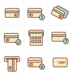 Icons Style black credit cart icons set vector image