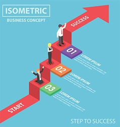 Isometric businesspeople on business graph ladder vector