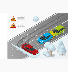 isometric winter driving and road safety car vector image