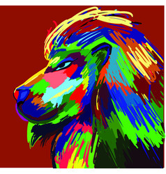 lion portrait colorful painting abstract vector image