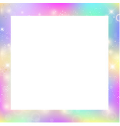 Magic border with rainbow mesh and space for text vector