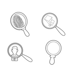 Magnifier glass icon set outline style vector