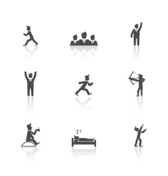 Man action icons set vector