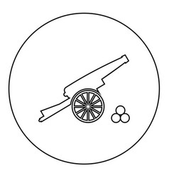 Medieval cannon firing cores icon black color in vector