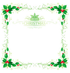 Merry christmas and happy new year square border vector
