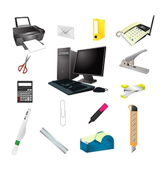 Office tools realistic icon set vector