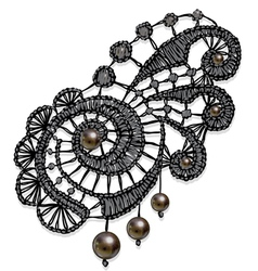 Openwork lace with pearls Realistic vector