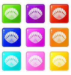 Pearl shell set 9 vector