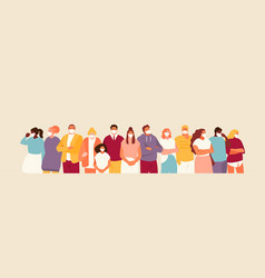 People crowd in masks vector