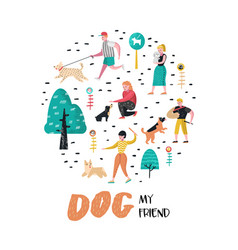 people training dogs in the park dog doodle vector image