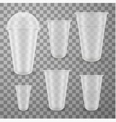 Plastic glasses different sizes realistic vector