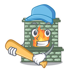 playing baseball character fireplace with red vector image