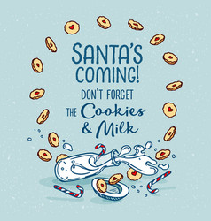 Poster santa is coming vector