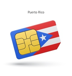 Puerto Rico mobile phone sim card with flag vector image