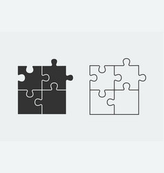 puzzle - icon set of four black piece puzzle and vector image