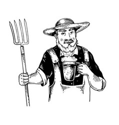 Rural man with pitchfork and beer engraving vector