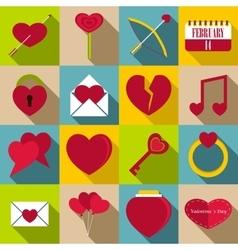 Saint Valentine items icons set flat style vector image