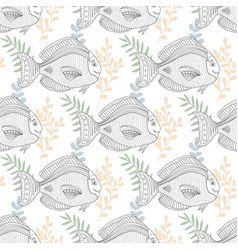 Sea pattern with fish character for fabric or vector
