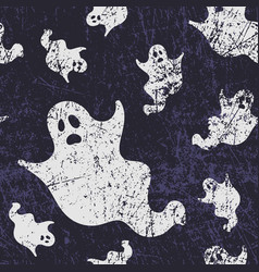Seamless halloween pattern with ghosts grunge vector
