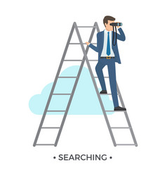 searching man and ladder vector image
