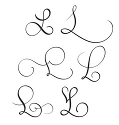 Set of art calligraphy letter l with flourish of vector