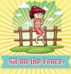 Sit on the fence vector image