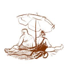 Sketch couple under beach umbrella vector