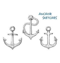 Sketches of old ship anchors with rope vector image