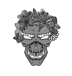 Skull with the succulent plants vector image