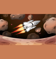 Space shuttle flying through asteroids vector