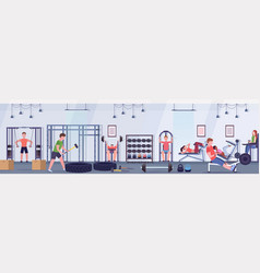 sporty people doing exercises men women working vector image