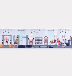 Sporty people doing exercises men women working vector